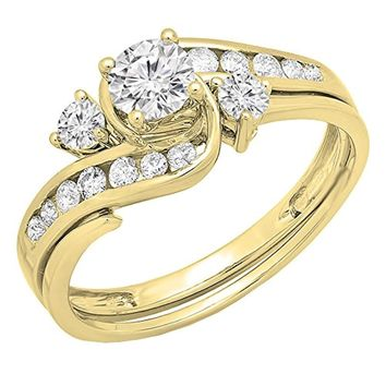 CERTIFIED 0.90 Carat 14K Yellow Gold Round Diamond Swirl Bridal Engagement Ring Set