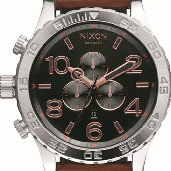 Men's Nixon 'The 51-30 Chrono' Watch, 51mm - Brown/ Silver/ Rose Gold