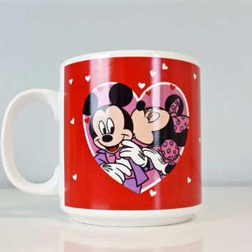 Vintage Mickey and Minnie Mouse Mug Red Pink Hearts Love Kiss Disney, Minnie Mouse Coffee Mug, Mickey Mouse Coffee Mug, Valentine's Day Love