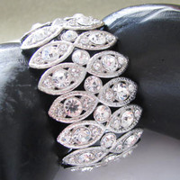 Rhinestone Bracelet with Sterling Plated Barrel Clasp Bridal Wedding Jewelry