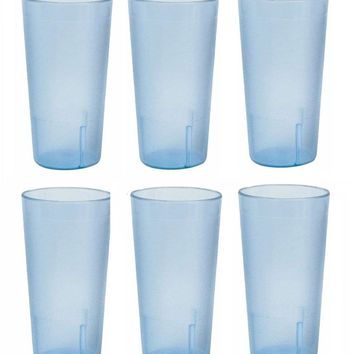 20 Ounce Restaurant Tumbler Beverage Cup Stackable Cups Break Resistant Commmerical Plastic Set of Six - Blue 20 oz ( 6 Pack)