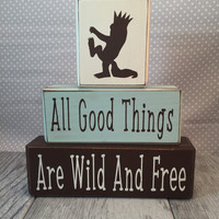 Where the wild things are stacking blocks monsters nursery decor baby shower centerpiece painted wood blocks distressed blocks