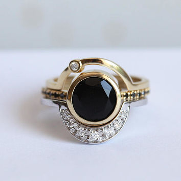 Alternative Engagement Ring Set, Alternative Ring Set, Eclipse Ring, Moon Ring, Black Onyx Ring, Eclipse Set, Unique Bridal Set, Minimalvs