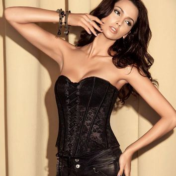 ESBUG3 Waist Sexy Shaper Body Zippers Lace Cup Palace Corset [4965274948]