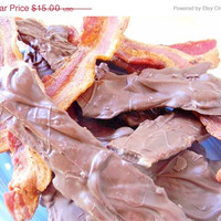 THANKSGIVING SALE Scott's Belgium Milk Chocolate-Covered Applewood Smoked Super Thick-Cut Maple BACON - 4 Pieces - Over 1/3 Pound