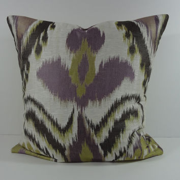 IKAT Decorative Pillow Cover, Purple, Lavender, Olive Green Pillow Cushion, 20x 20