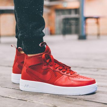 LMFON Nike Air Force 1 Ultraforce Mid 864025-002 Red For Women Men Running Sport Casual Shoes Sneakers