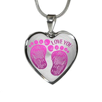 Mother Girl Baby Footprints Necklace and Bracelet