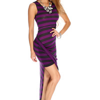 Charcoal Purple Striped Draped Sexy Party Dress