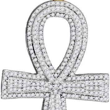 10kt Yellow Gold Mens Round Diamond Ankh Cross Charm Pendant 1-1/2 Cttw