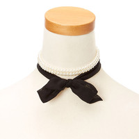 White Faux Pearl an Black Chiffon Choker Headwrap