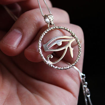 Ancient Egypt  Eye Of Horus Necklace charm by Silversmith925