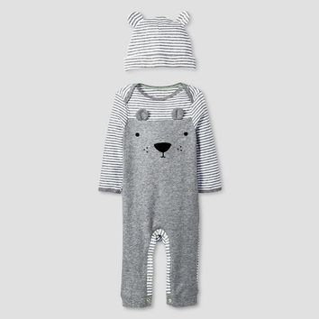 Baby 2 Piece Bear Coverall Set Baby Cat & Jack™ - Heather Grey/Ebony
