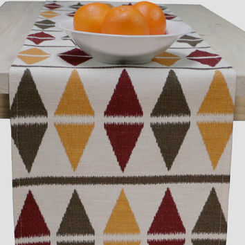 Fall Table Runner Thanksgiving Table Runner Red, Green, Yellow, Creamy - Earth Colors 60 inch, 72 inch, 96 inch, 108 inch, 120 inch long