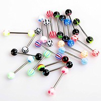 Pack of 20 Colorful Stainless Steel Ball Barbell Tongue Rings Bars Piercing Cosmetic (Type1:20pcs)