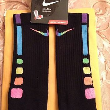 *Rare Custom Rainbow Nike Elite Socks (large)*