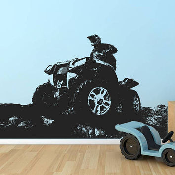 ATV Quad Bike Wall Decal, 4 Wheeler Off Road Wall Sticker, Quad Wall Decal Decor, 4 Wheeler Kids Bedroom Wall Decor Art, ATV Mural se171