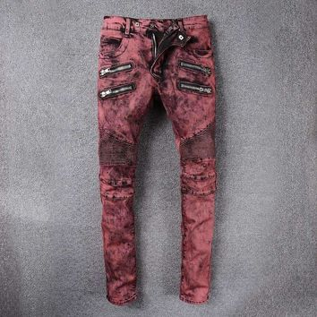 France Style #989# Mens Distressed Embellished Ribbed Stretch Moto Pants Biker Jeans Slim Trousers Size 28-42