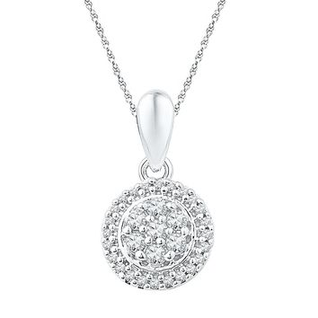10kt White Gold Womens Round Diamond Halo Flower Cluster Pendant 1/4 Cttw