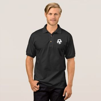 Black and White Soccer Ball Logo Sports Polo Shirt