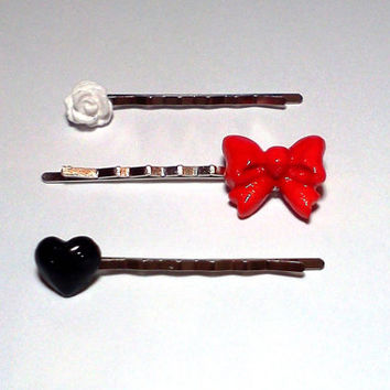 Rose Heart and Bow Bobby Pin Set Cabochon Hair Pins, Red White and Black
