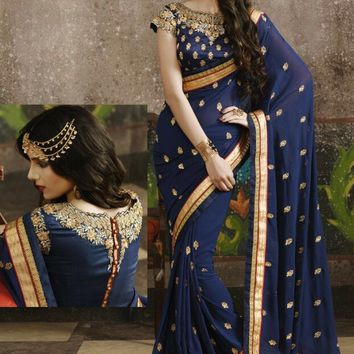 Blue Georgette Saree with Blouse - SAREE - Women