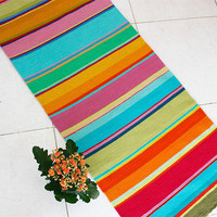 Striped handwoven wool rug runner - unique colorful wool rug, handmade wool rug