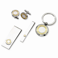 Men's Stainless Steel Yellow IP-plating 4-piece Boxed Set - Engravable Gift Item