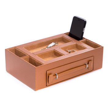 Tan Leather Open Face Valet Box with Drawer