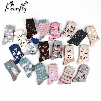 PEONFLY 2017 New Cute women's sock long happy socks 10 kinds of animals (maple leaf, horse, owl, rabbit, cow, bear) 2Pair