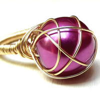 Magenta Pearl Ring  Wedding Jewelry Gold Wire by SherryKayDesigns