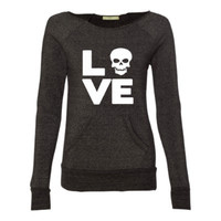 Love Skull - Eco Fleece - Off the Shoulder Sweatshirt - Ruffles with Love - Racerback Tank - Womens Fitness - Workout Clothing - Workout Shirts with Sayings - LOVE Symbol Tank