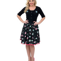 Black High Waist Sputnik Swing Skirt