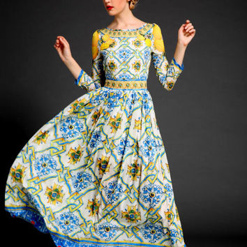 Spring 2016 Silk Runway Designer Inspired  Blue Mosaic Lemon  Print Fancy Dress Size M