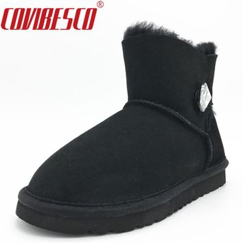 COVIBESCO Women Australia Classic 100% Sheepskin Ankle Snow Boots Warm Winter Fur Boots Flats Short Snow Boots For Woman Shoes