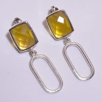 Stamp 925 Sterling Silver Faceted Cushion Crystal Citrine Yellow Glass Rhinestone Hammered Oval Dangle Push Back Bezel Set Light Earrings