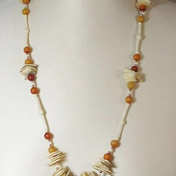 Shell Necklace, Beach Jewelry, Hippie Jewelry, Hawaiian Luau, Small Silver Beads, Vintage Jewelry, 28 1/2 inches
