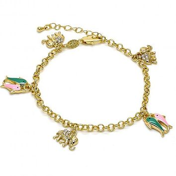 Gold Layered 03.63.1365.07 Charm Bracelet, Elephant and Fish Design, with White Crystal, Multicolor Enamel Finish, Gold Tone
