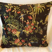 Waverly Polynesian Swing Fabric Pillow Cover with Insert Asian
