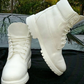 "Custom ""White Out"" Timberland Boots- Unisex Boots- Infants- Preschool- Grade School- Adults- Any Size- Any Color- Custom Made- Timbs"