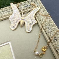 Gold and white patina butterfly necklace. Gold plated chain. Victorian, fantasy, nature.