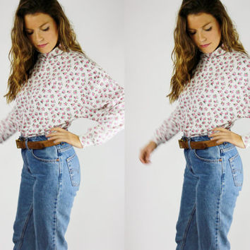 white TURTLE NECK 90s pink floral long sleeve shirt SLOUCHY oversized jumper flower pattern