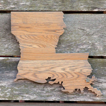 Louisiana state shape wood cutout wall art handcrafted from repurposed Oak flooring 14x17 in. Wedding Guestbook Cabin Rustic Gift Decor