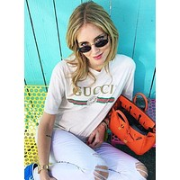 """""""Gucci"""" Popular In The World Classic Letters Print Short Sleeve Round Collar Lovers T-Shirt Pullover Top White I/A"""