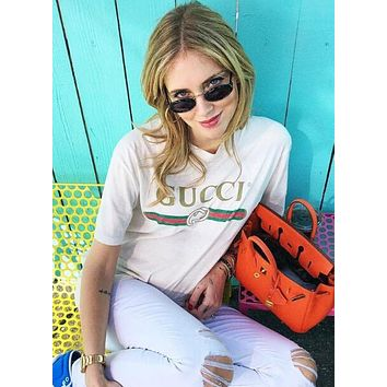 """Gucci"" Popular In The World Classic Letters Print Short Sleeve Round Collar Lovers T-Shirt Pullover Top White I/A"