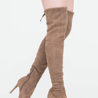Lucky Draw Faux Suede Thigh-High Boots