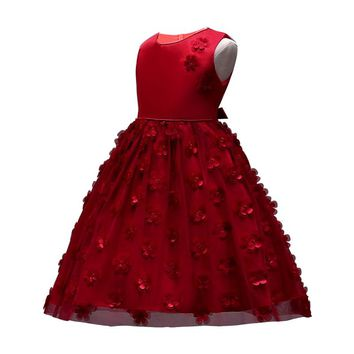 Girls Party dresses Kids Baby Girls Flower Birthday Wedding Bridesmaid Pageant Princess Formal Dress 2 3 4 5 6 7 8 years