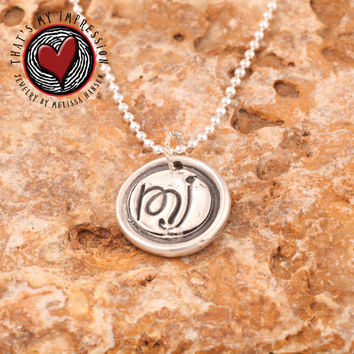 Sterling Silver Wax Seal Monogram, Letters, Initials, Handwriting, Name, M J