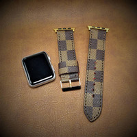 SerStraps LV Brown Damier Straps, LV Apple Watch Band, Apple Series 1 2 3 , Apple Watch Straps, Watch Band