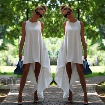 New Arrivals Casual Asymmetrical White Long Dress,Sexy Summer Maxi Beach Party Sun Dresses,Plus Size Clothing = 5657646977